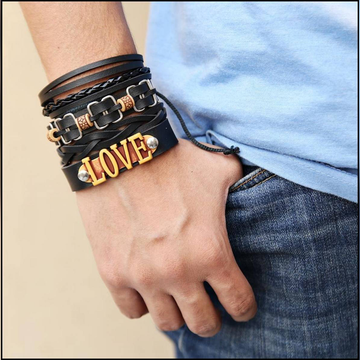 Hot New Pack Of 4 Love Leather Bracelets
