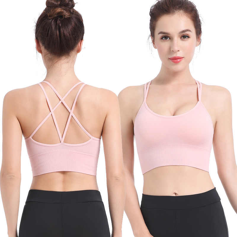 Sports Bra Cross Strap Quick Dry Padded Shockproof Running Workout Fitness Bra for Girls Women Ladies