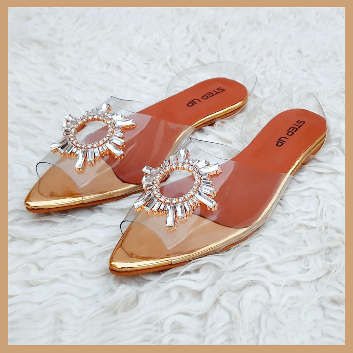 Women's Transparent Shoes  Flat Golden Comfortable Shoes  Step Up