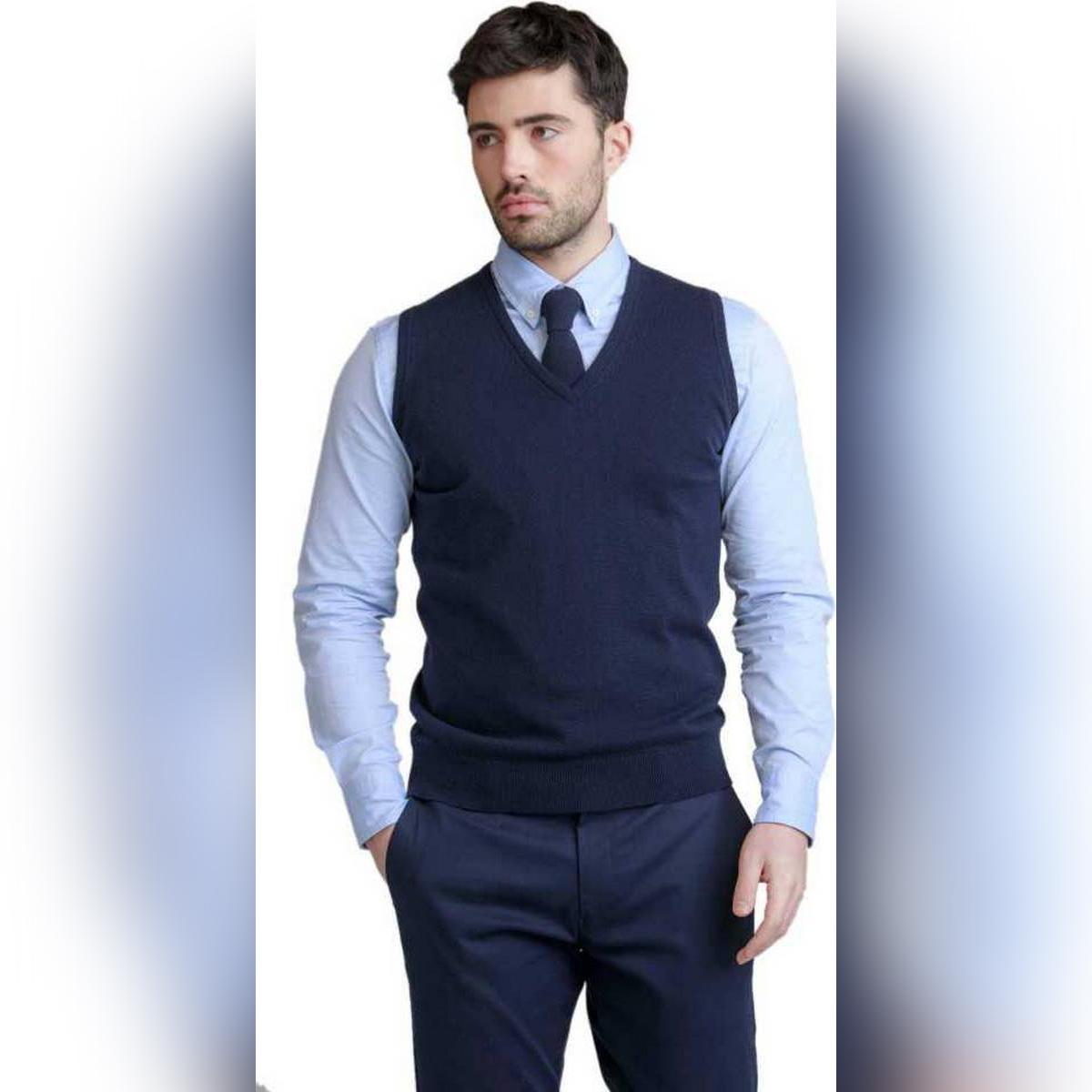 AL FAJAR Branded Export Quality Premium Rich 100% Finest Malaysian Cotton Sleeveless Navy Blue Formal V-Neck Sweater For Men, Hoodie For Men, Sweatshirt For Men
