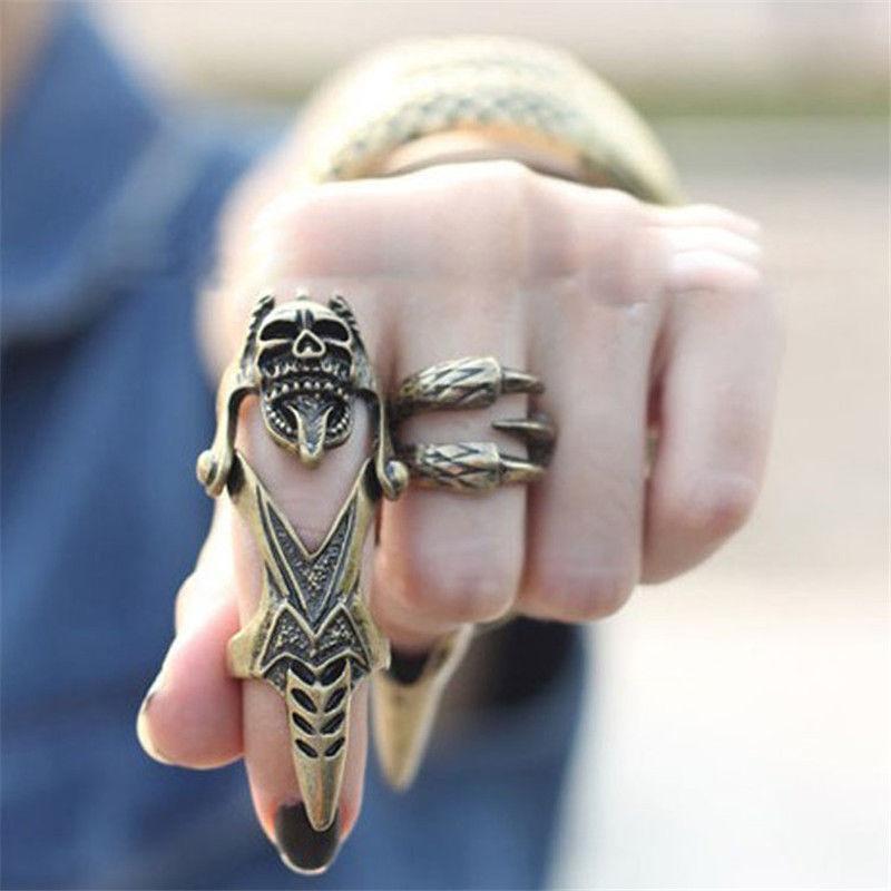 Gothic Punk MENS Double Ring Spike Full Finger Scroll  Armor Finger Rings