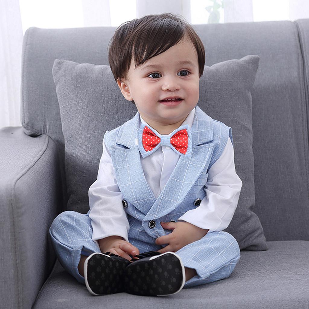 07e2232a61cb Rainbowroom 2019 Toddler Baby Boy Bowtie Gentleman Vest T-Shirt Pants  Wedding Suit Cloth Sets