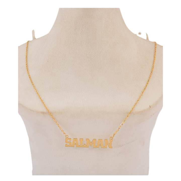 """Fashion Cafe - Golden Necklace with Name """"SALMAN"""" with 18 Inch Chain"""