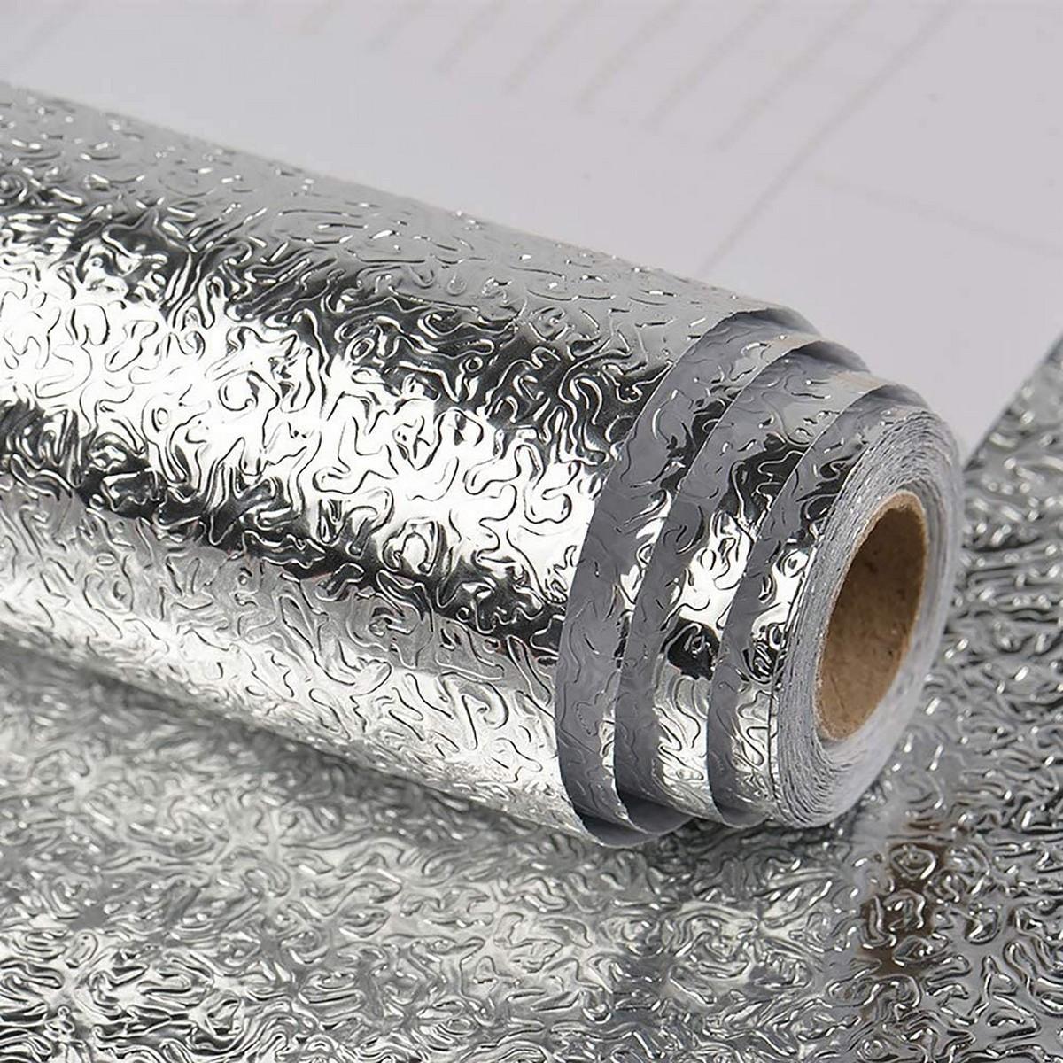 Self Adhesive Aluminum Foil Sticker Roll, Oil Proof Waterproof Aluminum Sheet DIY Wallpaper, Heat Resistant Backsplash Aluminum Sticker for Home, Kitchen, Stove, Cabinet, Wall, Drawers, Furniture, Silver Color