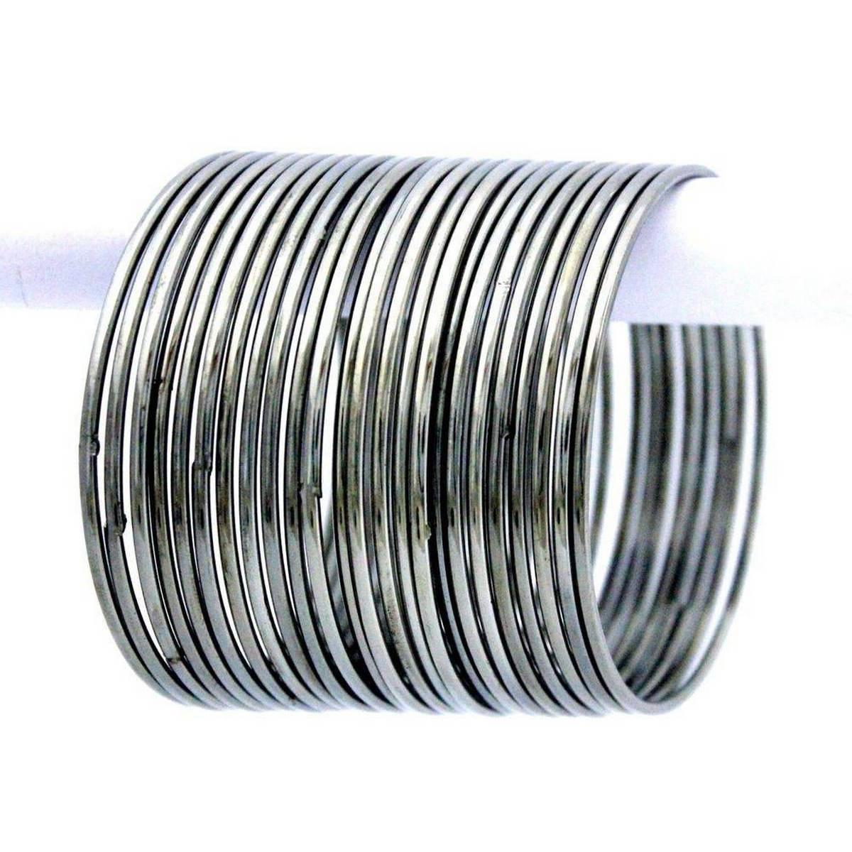 24 Piece Silver Metal Bangles