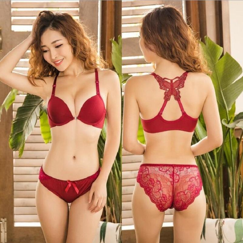 567dd2f6bf75 Push Up Bra Sets Women Front Close Underwire Lingerie Set