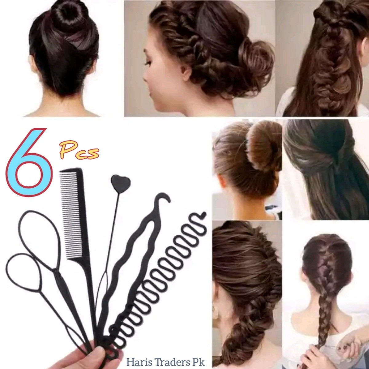 6 Pcs Hair Styling Tools Hair Accessories , Hair styling comb set, Hair care kit, hair care products , Hair bands for girls hair accessories for girls Hair accessories hair bands for girls Hair band hair straightener hair styler