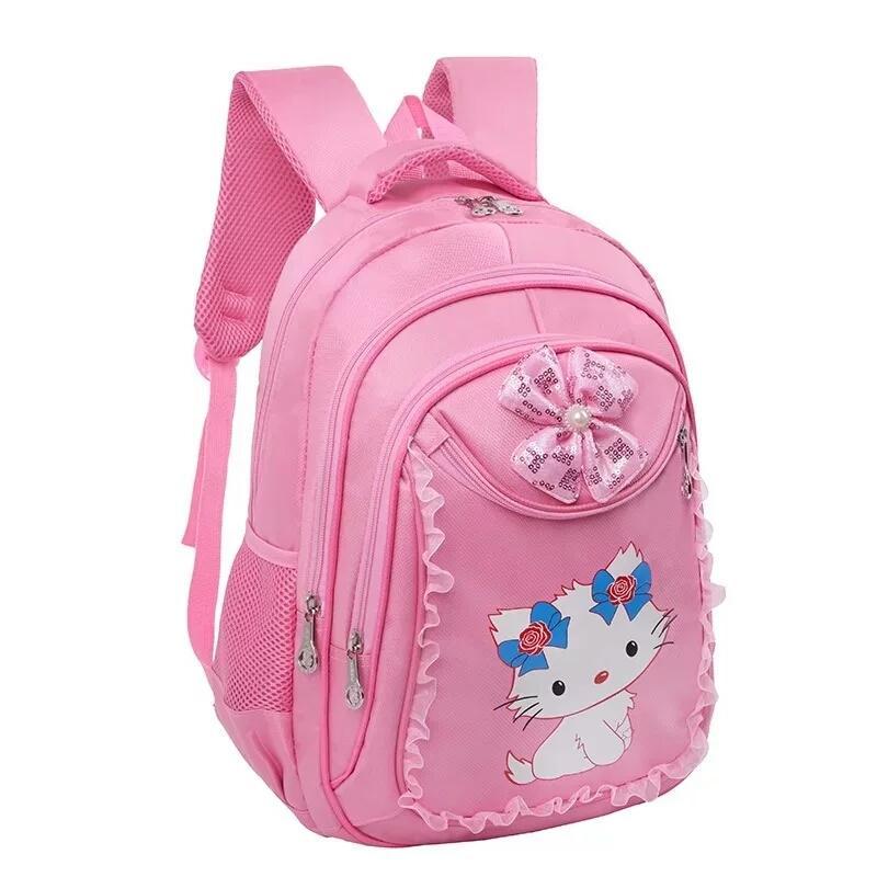 8d09f9c99f6c Pink Backpack Children School Bag for Girls Hello Kitty Kids Bag