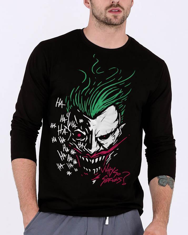 7acbbdbc265b Joker Black Round Neck Best Printed Summer Quality Full Sleeve Tshirt