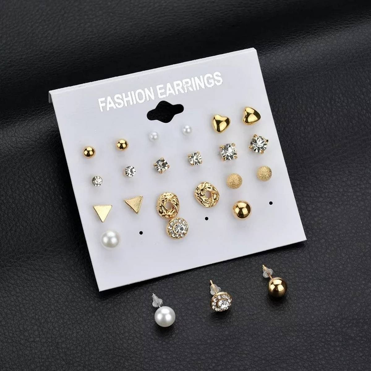 Pack of 12 Stud Pairs Gold Plated Earrings with one Gift Earrings