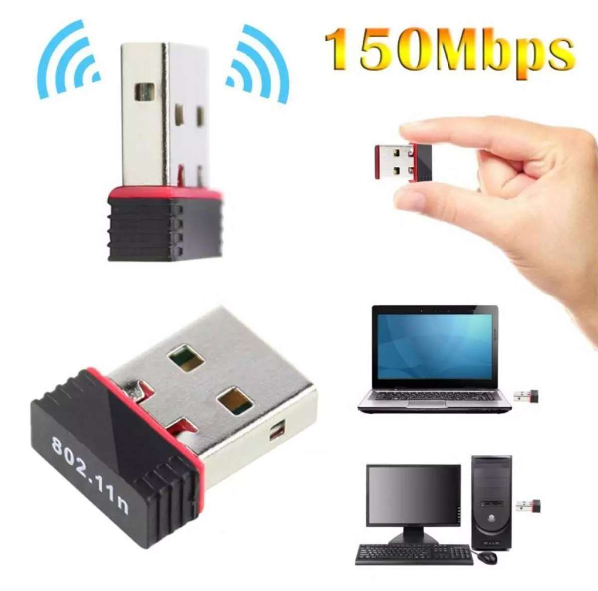 USB Wifi Receiver Catcher Mini Adapter for PC Laptop and Desktop (With Driver CD)