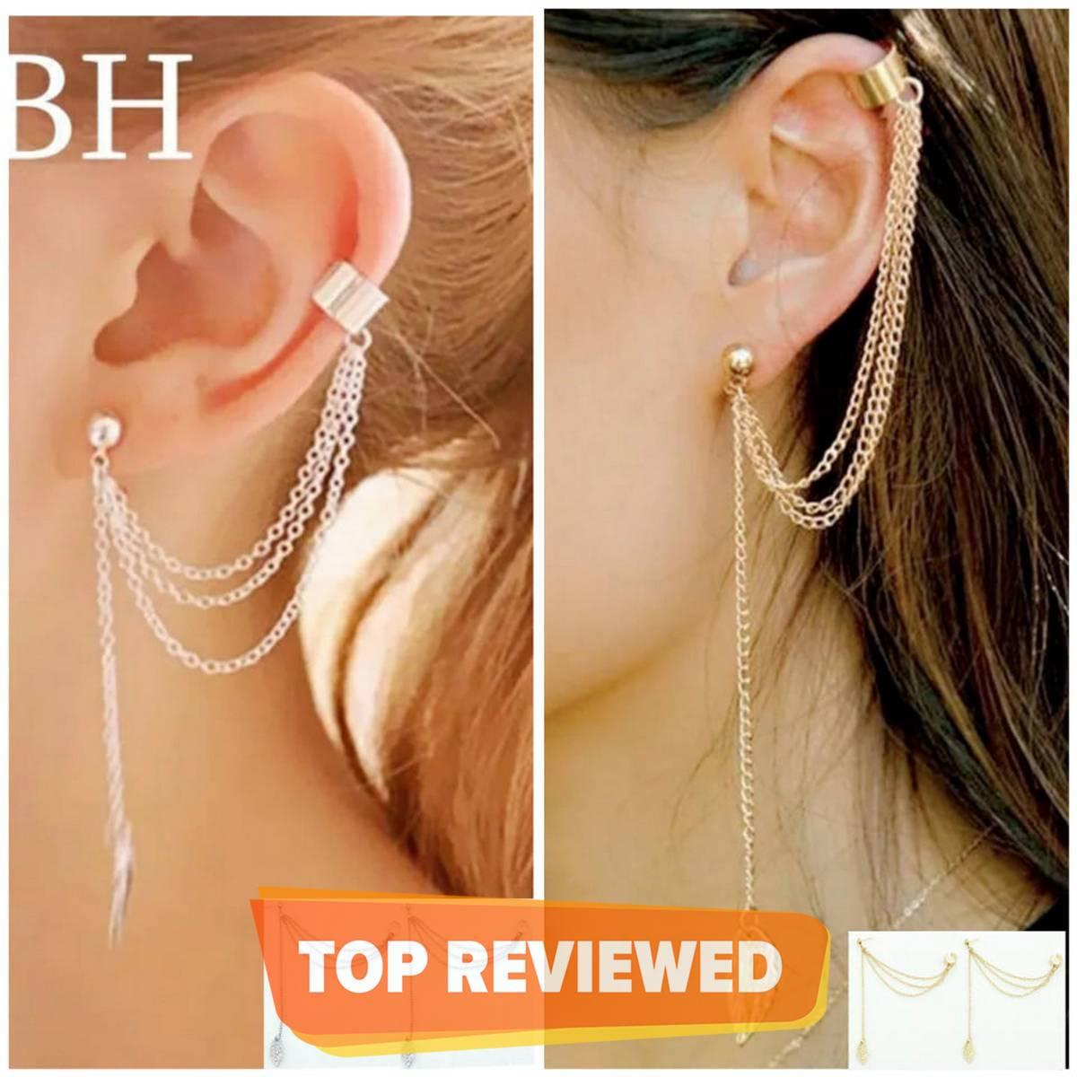 Pair Of Ear Cuff Long Chain Leaf Tassel Stylish Earrings For Girls