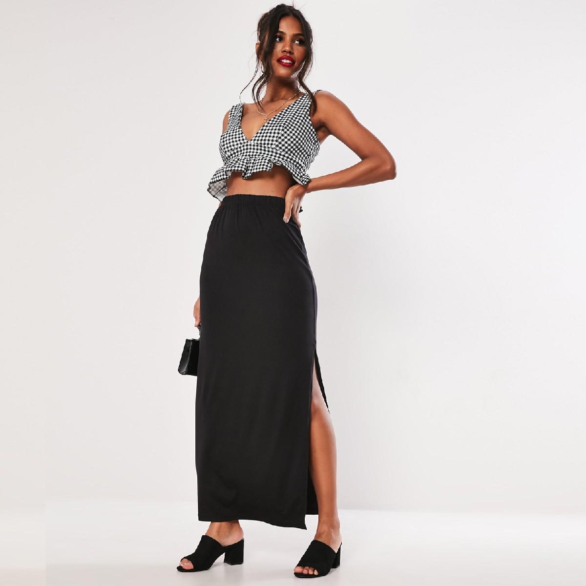 MISSGUIDED (BG-11-i) Black Viscose Jersey Side Split Maxi Skirt