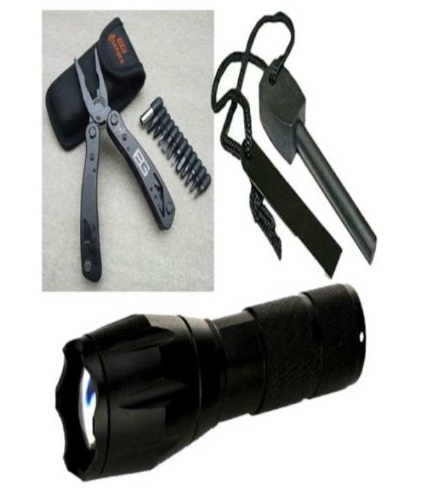 Hedge Tool & Torch 2000 Lumens Zoomable & Fire starter -Set of 3 Embedded Tools