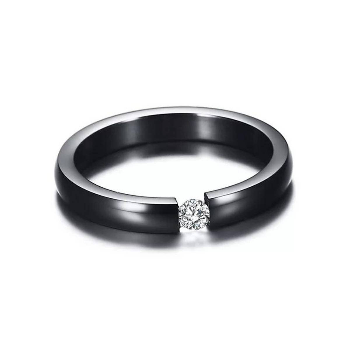 3MM Black Stainless Steel Cubic Zirconia Rings for Women Simple Femme Engagement Ring