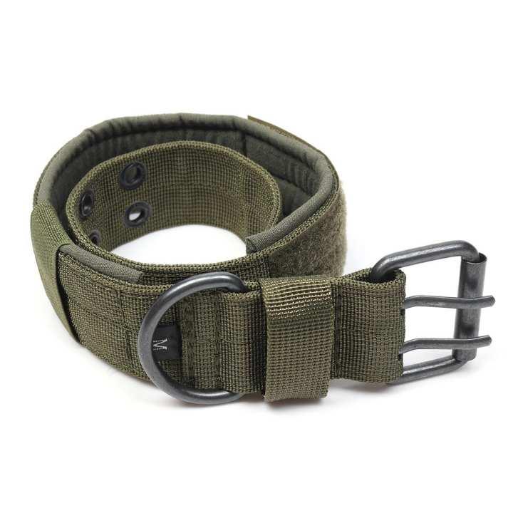 Adjustable Control Nylon Military Tactical Dog Collar Buckle Training Harness Green