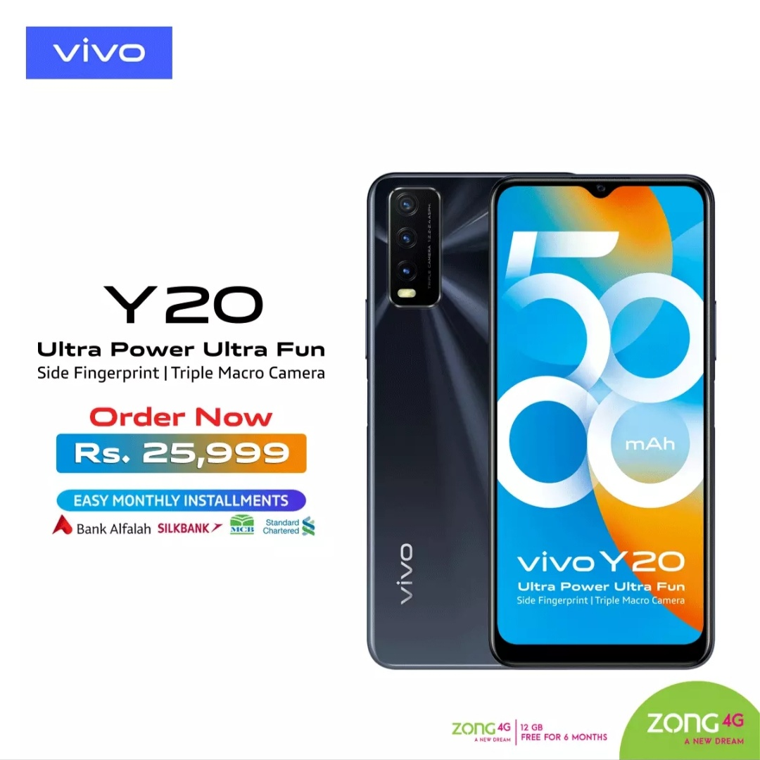 Vivo Y20 ]4gb Ram 64gb Rom-fingerprint 500 Mah Battery