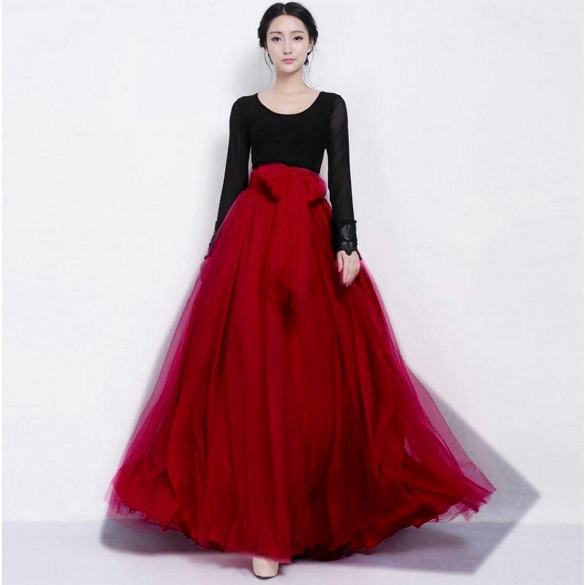 Net & Silk Maxi Skirt For Women