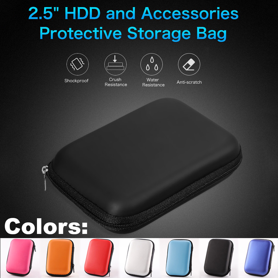 2.5 Inch External Hard Drive Carrying Case Shockproof Pouch Bag 2.5 Inch External HDD Power Bank Accessories Hand Carry Travel HDD Case