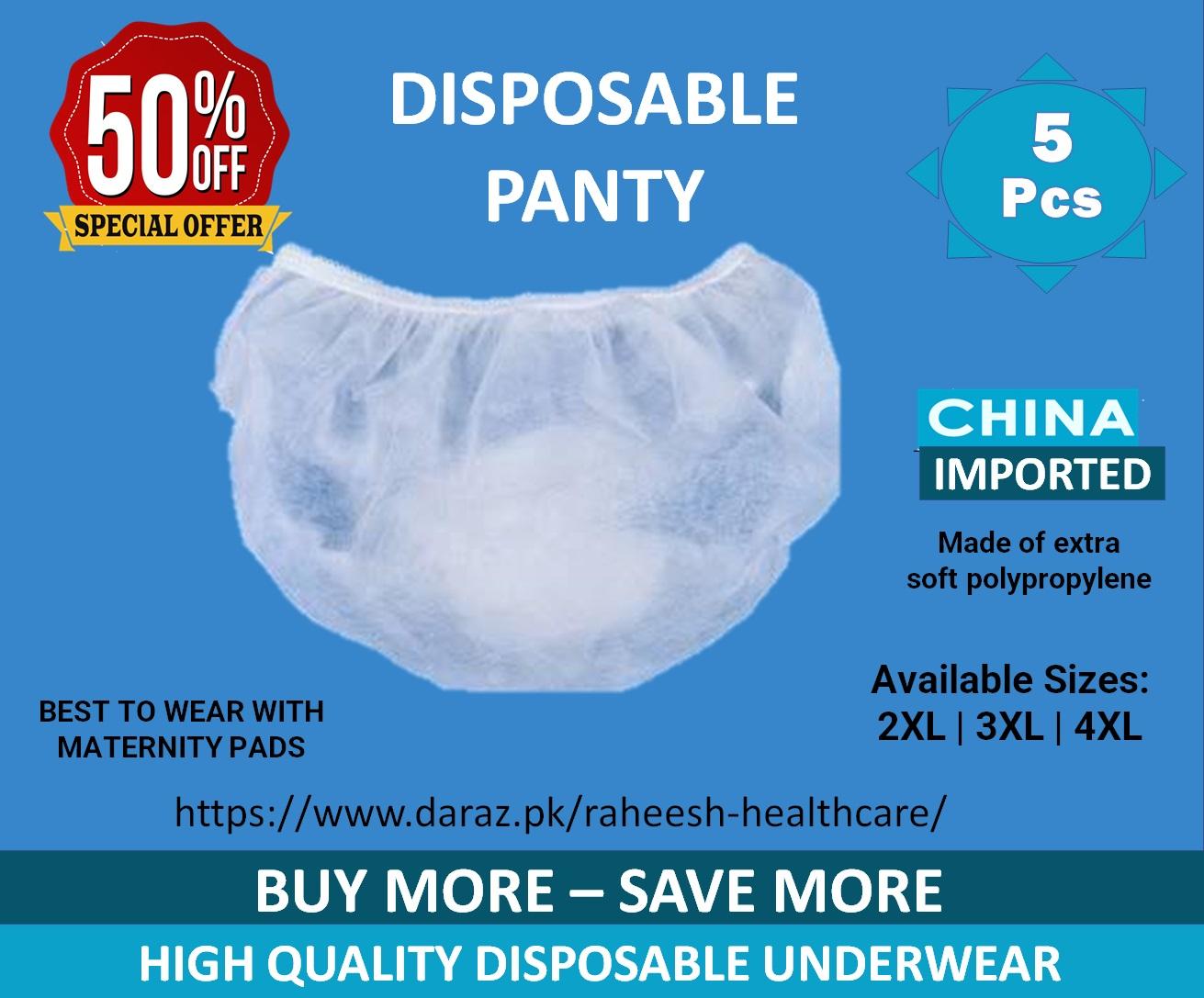 5 pcs  Women Disposable Underwear - Panties - non woven panty - Sizes: 2XL 3XL 4XL