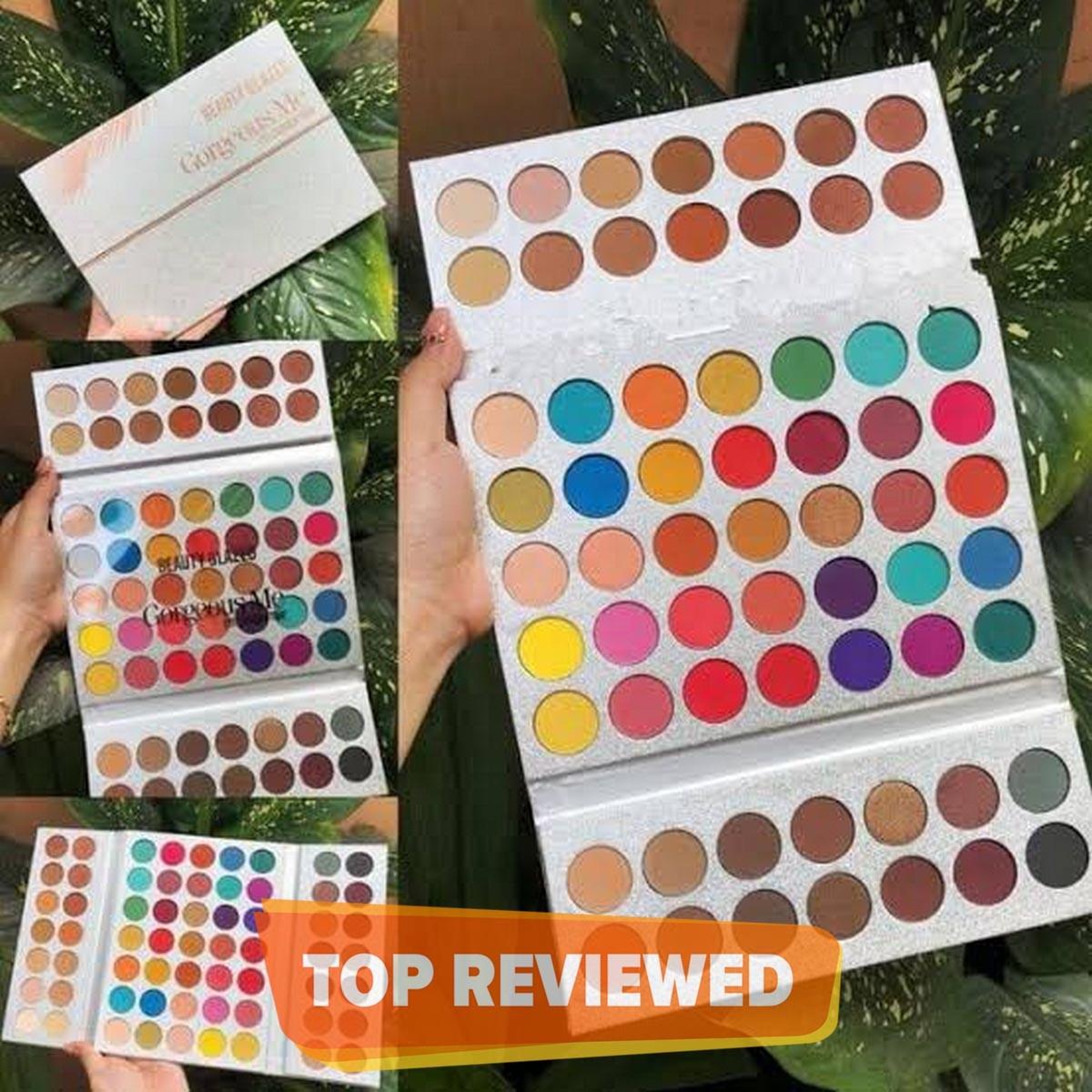 Beauty Glazed 63 Colors Pearlescent Matte Eyeshadow, Eye Cosmetics, Makeup Palette, 3 Folding Palette