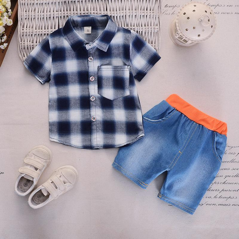 be2deb2d64aa9 6m-4 years Blue and white cotton check shirt with high quality denim shorts  children's clothing two-piece set one generation 2019 summer ...
