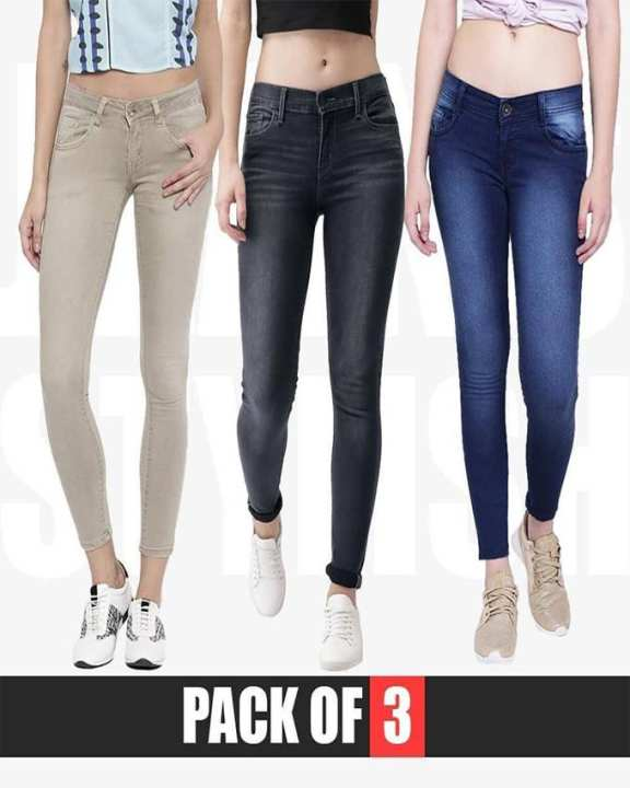 Rex Bazar - Pack of 3 Stylish Skinny Stretchable jeans For Women