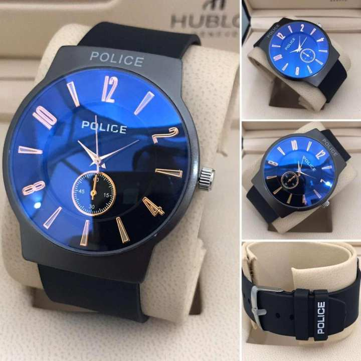Latest Stylish High Quality Water Proof Men Police Round Stainless Steel Case Rubber Strap Watch for Gift Party Casual Wear