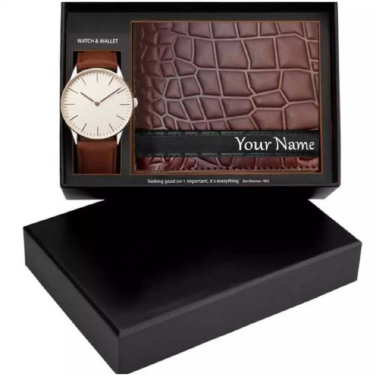 Genuine Leather Customize Name Wallet and Watch Set