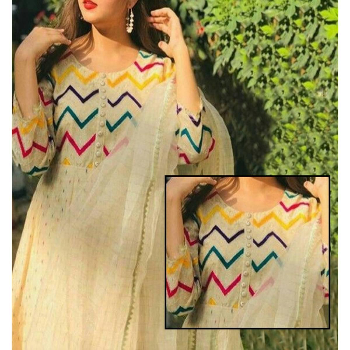 Cotton Jequard Heavy Embroidery Dress With Organza Dupatta Masoori Trouser (DRL-729)