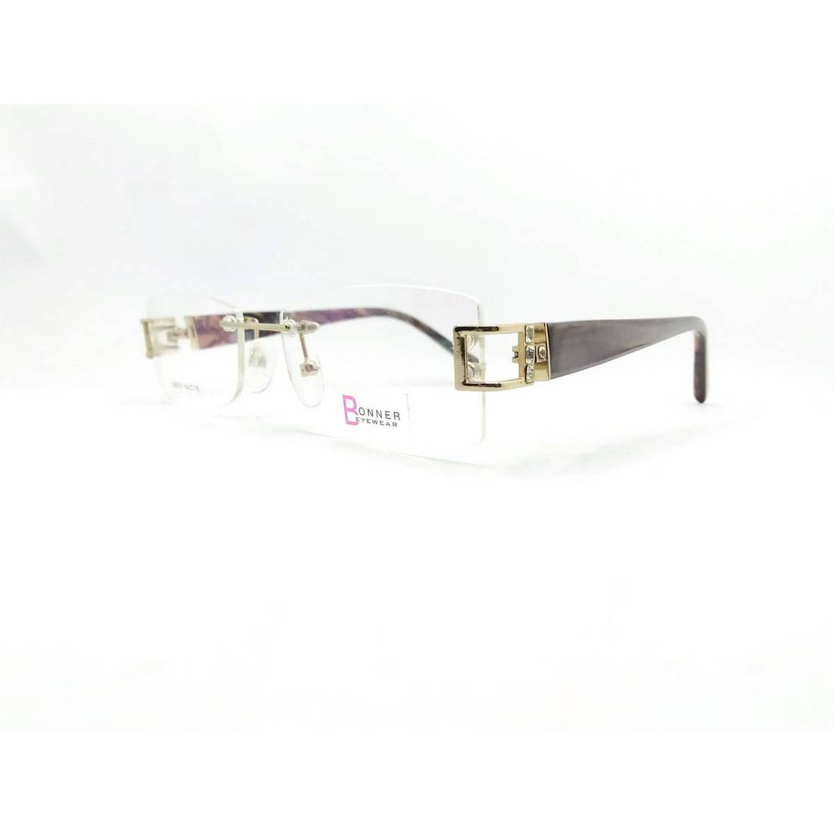 Square Shape Gold&Brown Color Full Rimless Eyewear Frame For Womens