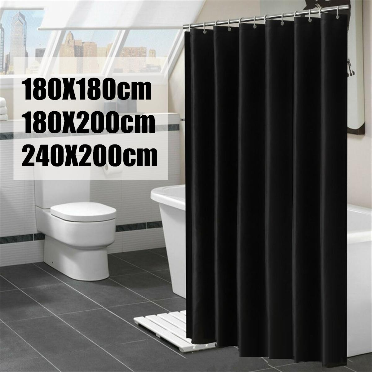 Plain Black Fabric Shower Curtain With Hook Rings Hangers 180 200cm