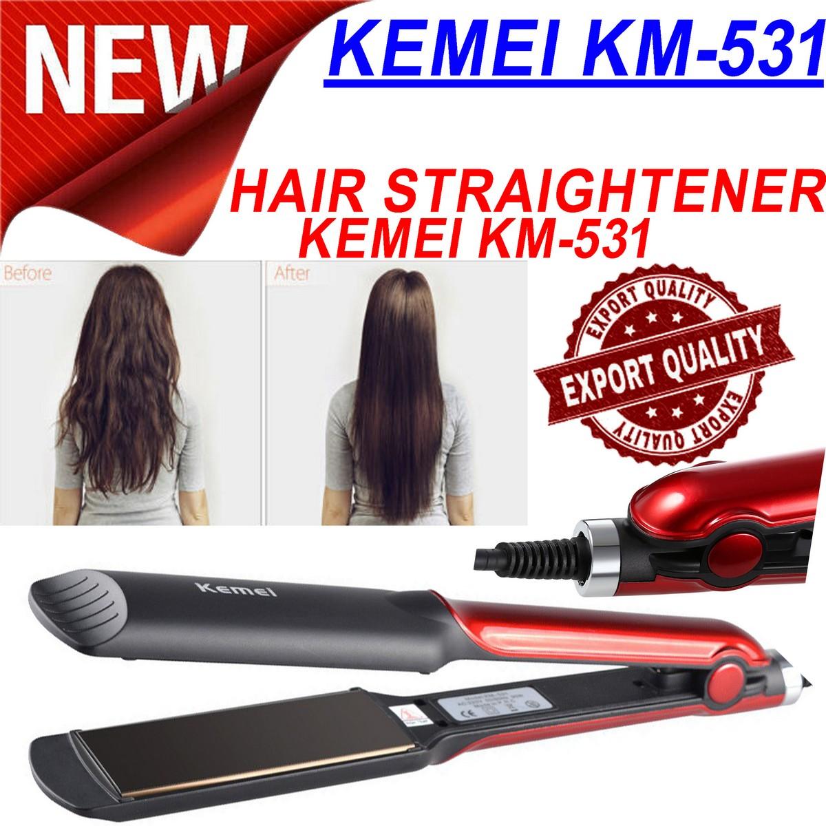 New KEMEI KM-531 Hair Straightener Ceramic Electric Professional Straighteners Flat iron Hair styling tool Beauty Set Rod for Women 30 sec Fast Ready Electric Straightening Machine Maximum 220C Genuine Original Best KM 531