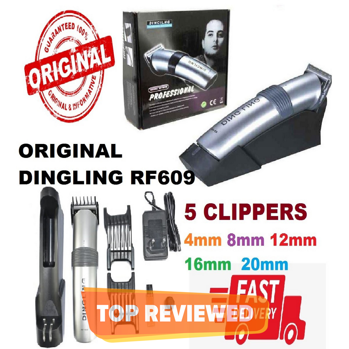Original Dingling rf 609 rechargeable hair clipper with charge base 8 hours charge time DINGLING RF-609 Electric Hair Clipper Hairdressing Trimmer Rechargeable Cutting Machine Beard Styling RF 609 dingling machine, dingling ,dingling rf 609