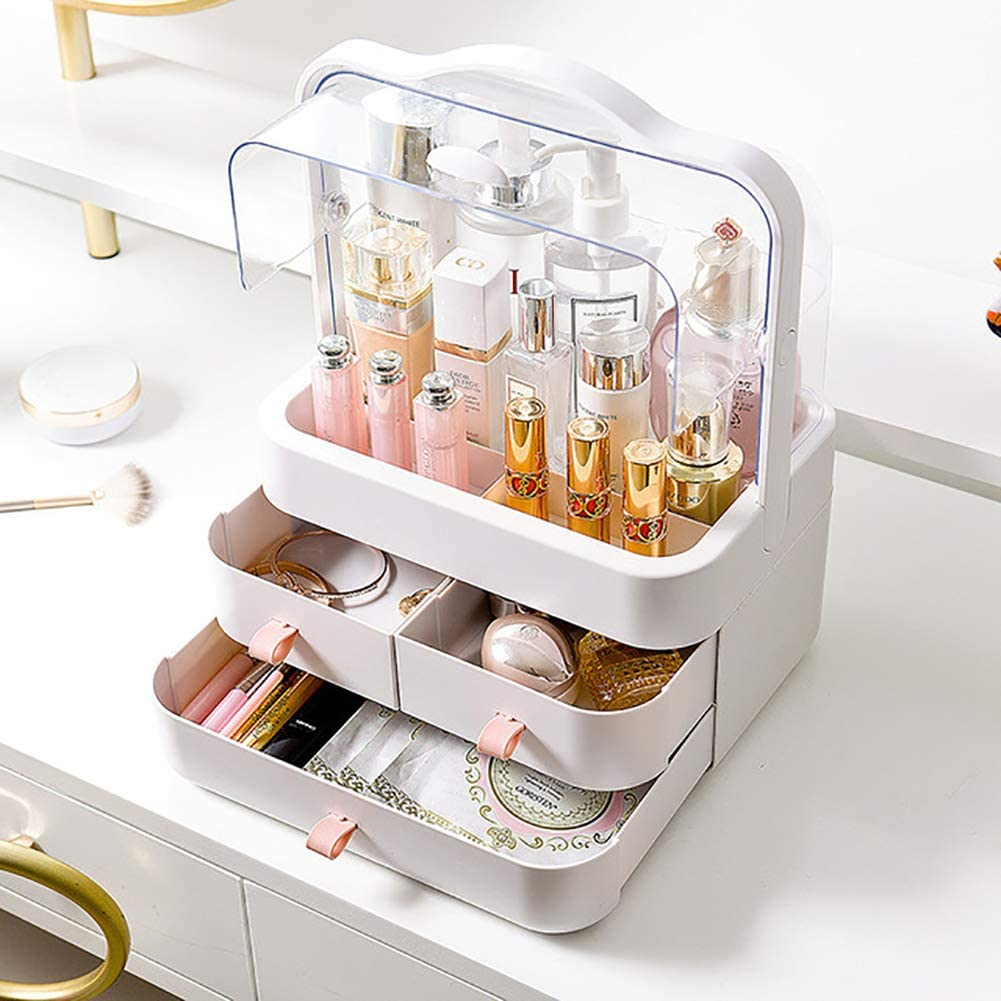 High Quality  Modern Cosmetic Organizer Makeup Storage Holder, Display Make up Caddy Shelf Organization Boxes Case Dustproof w/Handle and Drawer on Countertop, Ample Storage Space