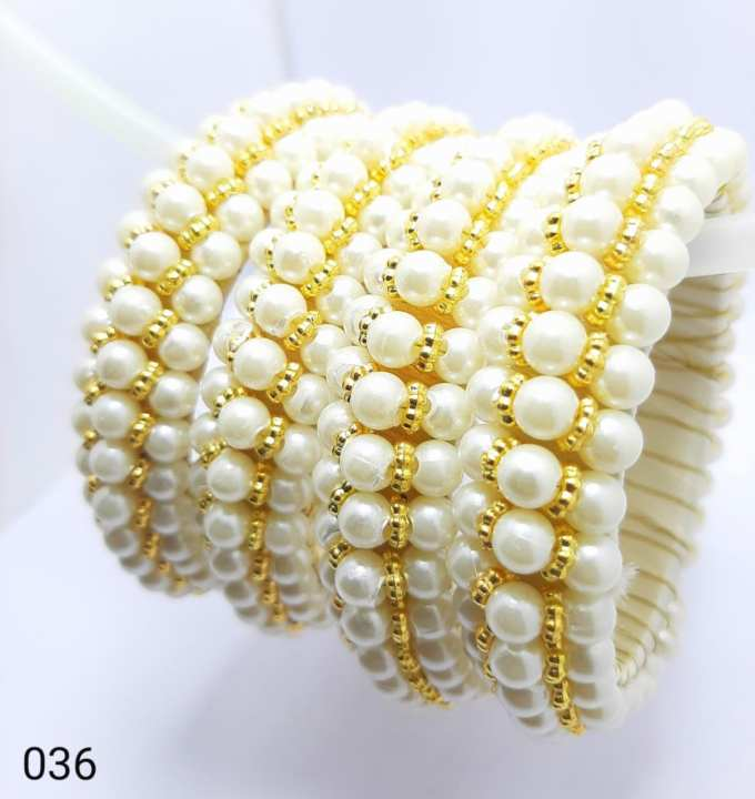Pearl and crystal 4 bangles size 2.25