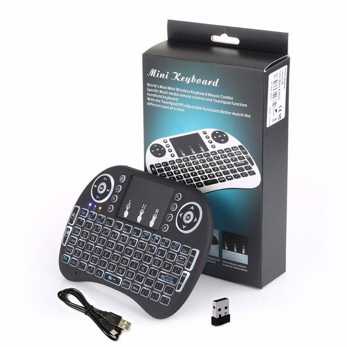 Mini Keyboard i8 with Backlight 2.4GHz Wireless Keyboard Air Mouse Touchpad for Android, pc, tv, box multipurpose
