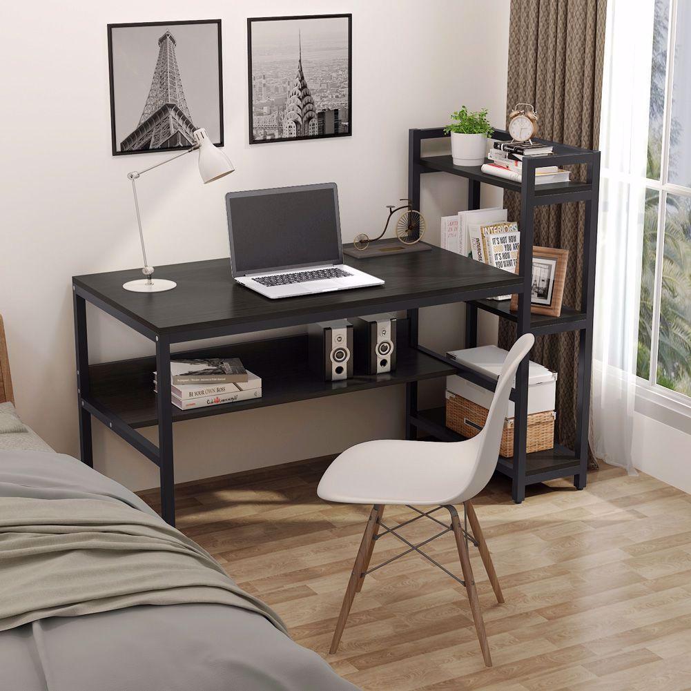Computer Desk or computer Table 4 Tier Storage Shelves Student Study with Bookshelf Modern Wood Desk