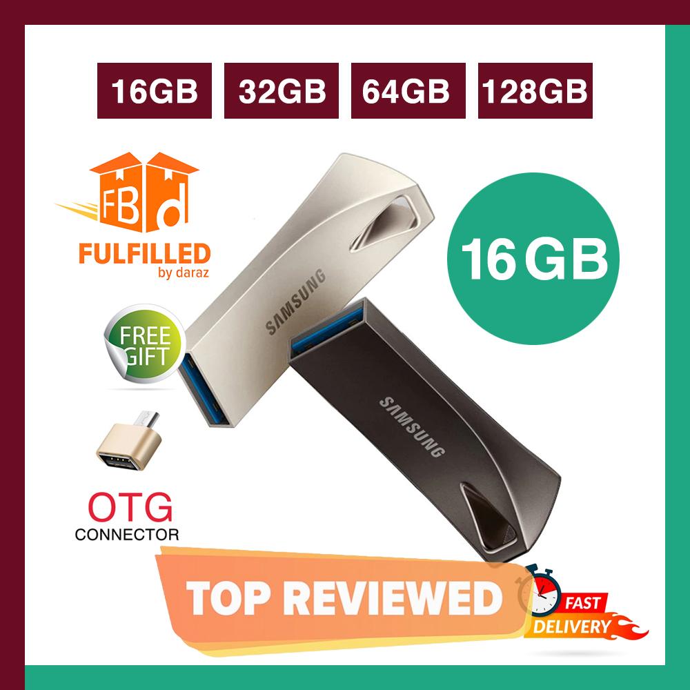 Samsung 16/32/64/128 GB BAR Plus Metal High Speed 3.0 Flash Memory Stick USB Drive + FREE OTG adapter - 6 Months WARRANTY