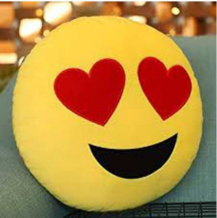 CH Heart Eyes Emoji Cushion- (With Filling)Yellow ( 12 x 12 Inches)