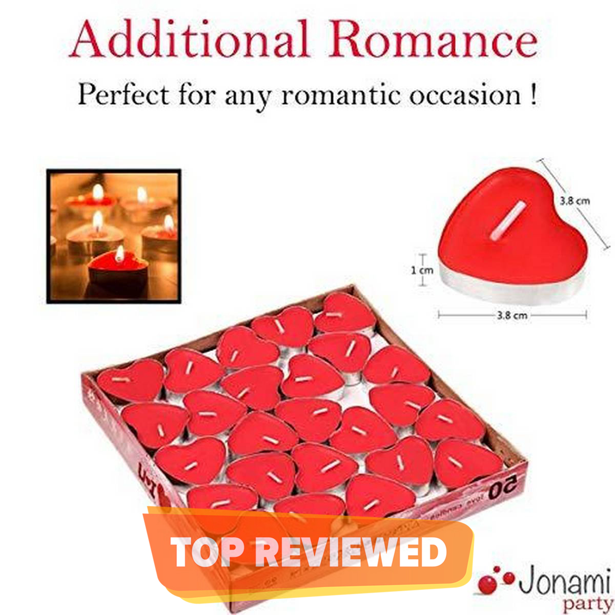 25 Red Heart Candles Pack