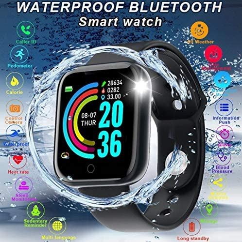 Black Advanced Version Bluetooth Digital Wrist Sports Smart Watch IP67 Waterproof Bracelet Support Mobile Notification With Mobile App Connectivity Fitness Tracker & BP Monitor Step Counter 1.3 Inch TFT Screen With Digital & Smart Display