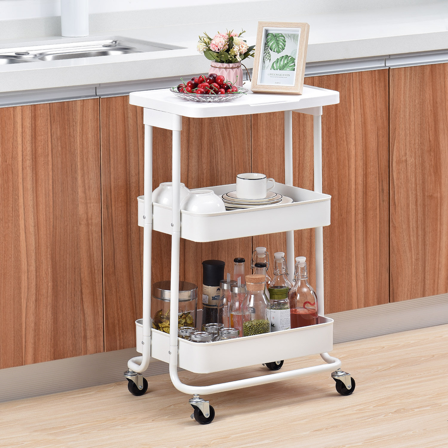 Kitchen Storage Trolley 3 Tier Metal Table Top Serving Rolling Cart Mobile Rack Organizer With Locking Wheels Standing Shelf Laptop Desk For Kitchen Home Office Sale Price Buy Online At Best Prices
