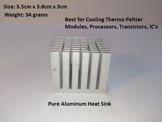 High Quality Pure Aluminum Heat Sink Cooler Cooling fin - Heatsink for Peltier, IC, LED's Transistor, RAM - Size: 3.5cm x 3.6cm x 3cm