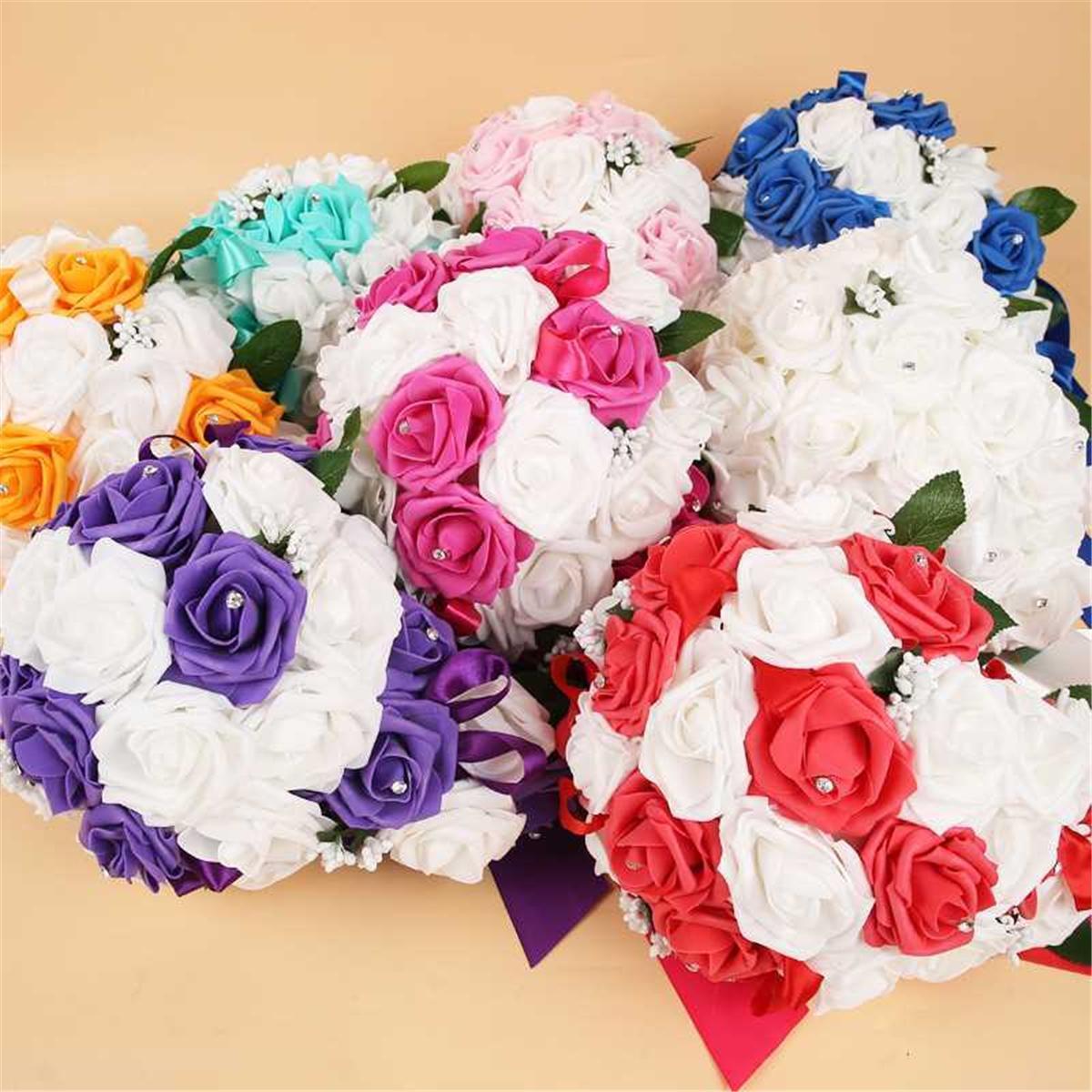 Bridesmaid Wedding Flowers Ivory Rose Pink Bouquet Bride Flower Girl Wand