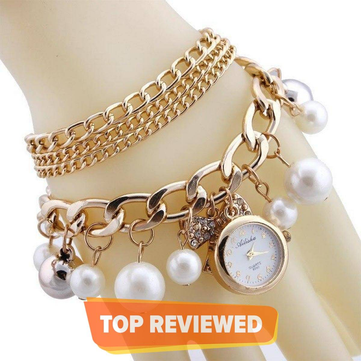 Golden Watch Pearls Bracelet and Ladies Watches For Girls