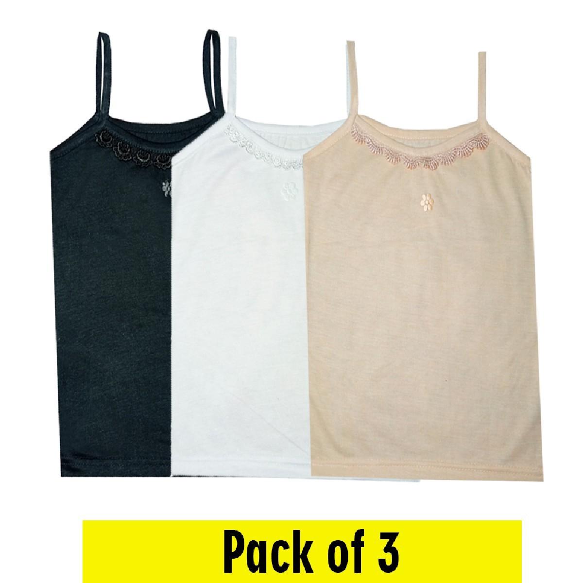 Pack of 3 - Thin Straps Cotton Tank Tops & Slips/Full Camisole/Full Shameez For Girls & Women's - Size Medium/Large