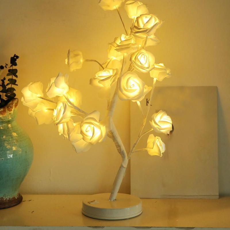 Led White Roses Tree Lamp 22 Soft Foamic Roses 18 Inches Height Metal Base Bedroom Wedding Decoration