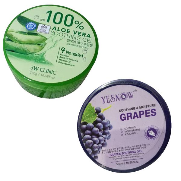 Pack of 2 Aloe Vera 100% &  Grapes Skin Care Soothing Gel - 300ml