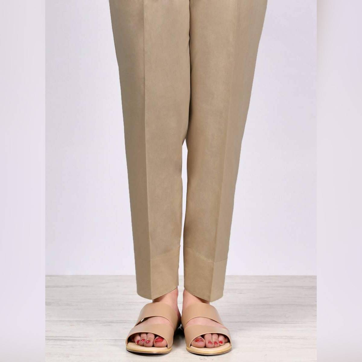LimeLight Stitched D.Beige Straight Trouser For Women P2441-SLN-DBE